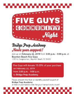 Five Guys Community Night is Tonight!